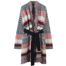 Women Cardigan Sashes Striped Sweater Coat Tassel Pockets Knitted Plus Size Shrug Long Maxi Runway Design Tops Outwear Winter