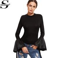 Sheinside Women Long Sleeve T Shirt Korean Fashion Clothing Famous Brand Women T Shirts Black Bell