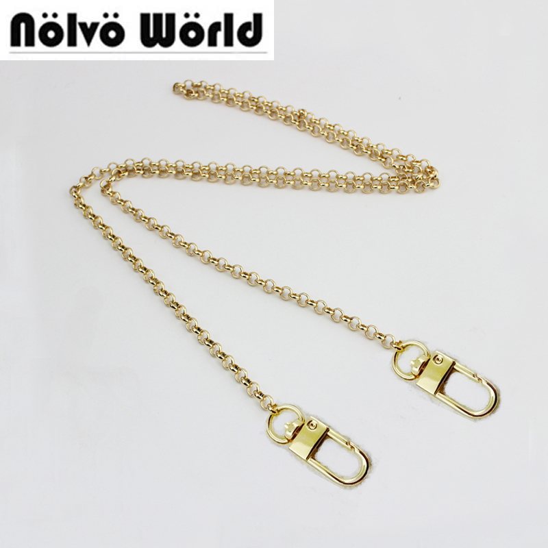 Gold color 110cm 120cm small round 5mm width o chains metal strap with hook for women chain long strap evening bag chain stylish bicycle lock and round pendant double sweater chains for women