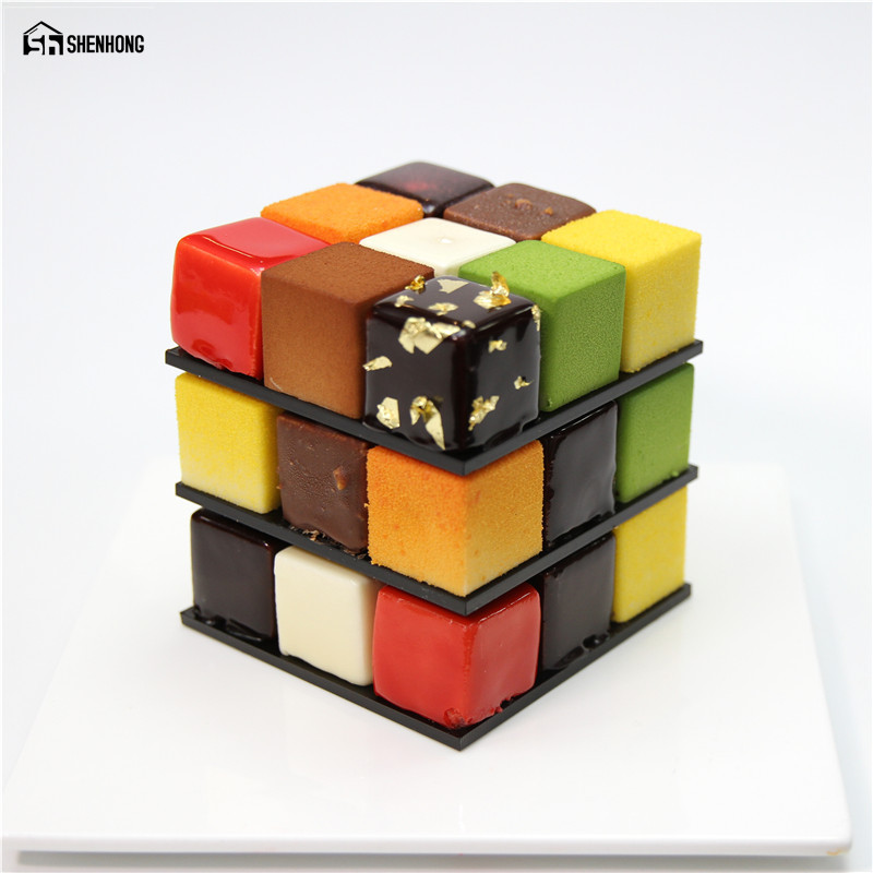 SHENHONG POP Rubik's Cube 3D Cake Moulds Aluminum alloy Mold Mousse For Ice Cream Chocolate Dessert Art Pan Bakeware Pastry