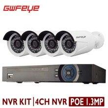GWFEYE 4CH Канал 1080 P 2.0 Мегапиксельная ВИДЕОНАБЛЮДЕНИЯ POE NVR Комплект Система безопасности С 4 ШТ. 1.3MP Мегапиксельная Водонепроницаемый POE, Ip-камера комплект