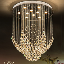 K9 Crystal Chandeliers LED Modern Chandelier Lights Fixture Round Flower Home Indoor Lighting Hotel Hall Lobby Long Hanging Lamp modern creative spider chandeliers lights fixture white black nordic stretchable working drop light home indoor hanging lamp led