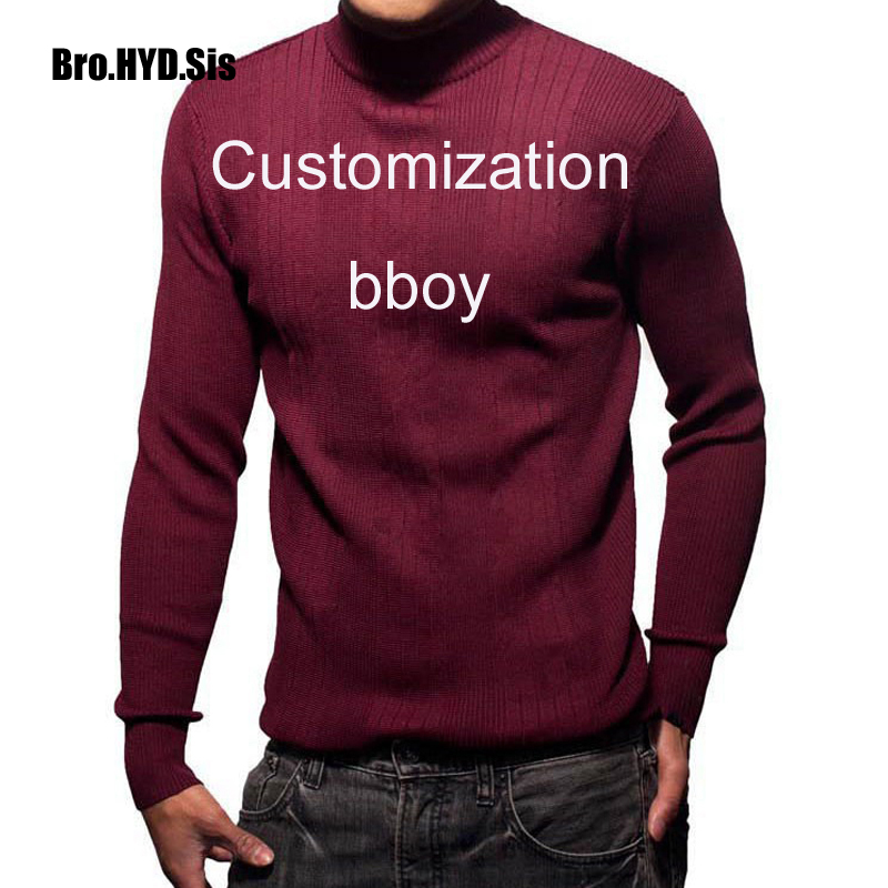 Customize Bboy Mock Necks Knitted Sweater Long Sleeve Men Mockneck