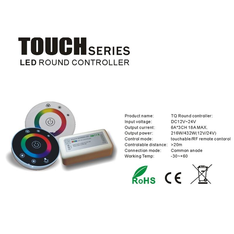 کنترل کننده لمسی RGB DC12V 24V 18A کنترلر LED بی سیم LED لامپ پانل لمسی LED Dimmer RGB کنترل از راه دور