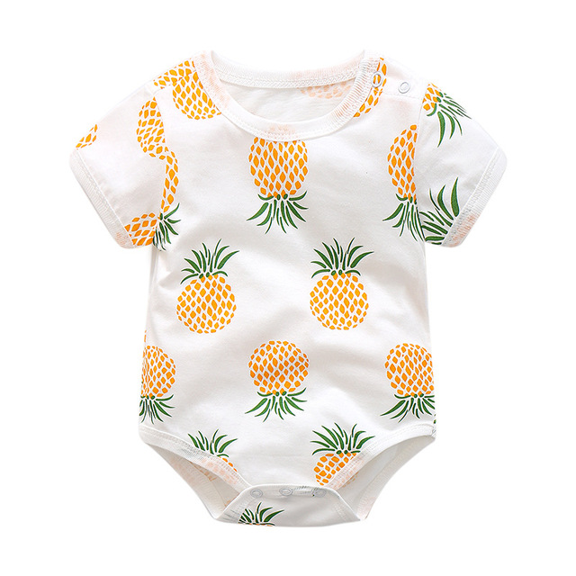c1aa183b0523 Baby Romper for Little Boy Girls Yellow Pineapple Fruit Print Cotton ...