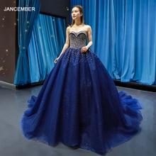 J66818 jancember без бретелек торжественное платье бальный наряд Милая на шнуровке сзади с украшением в виде кристаллов с голубое вечернее платье فساتين سهرة لون ازرق