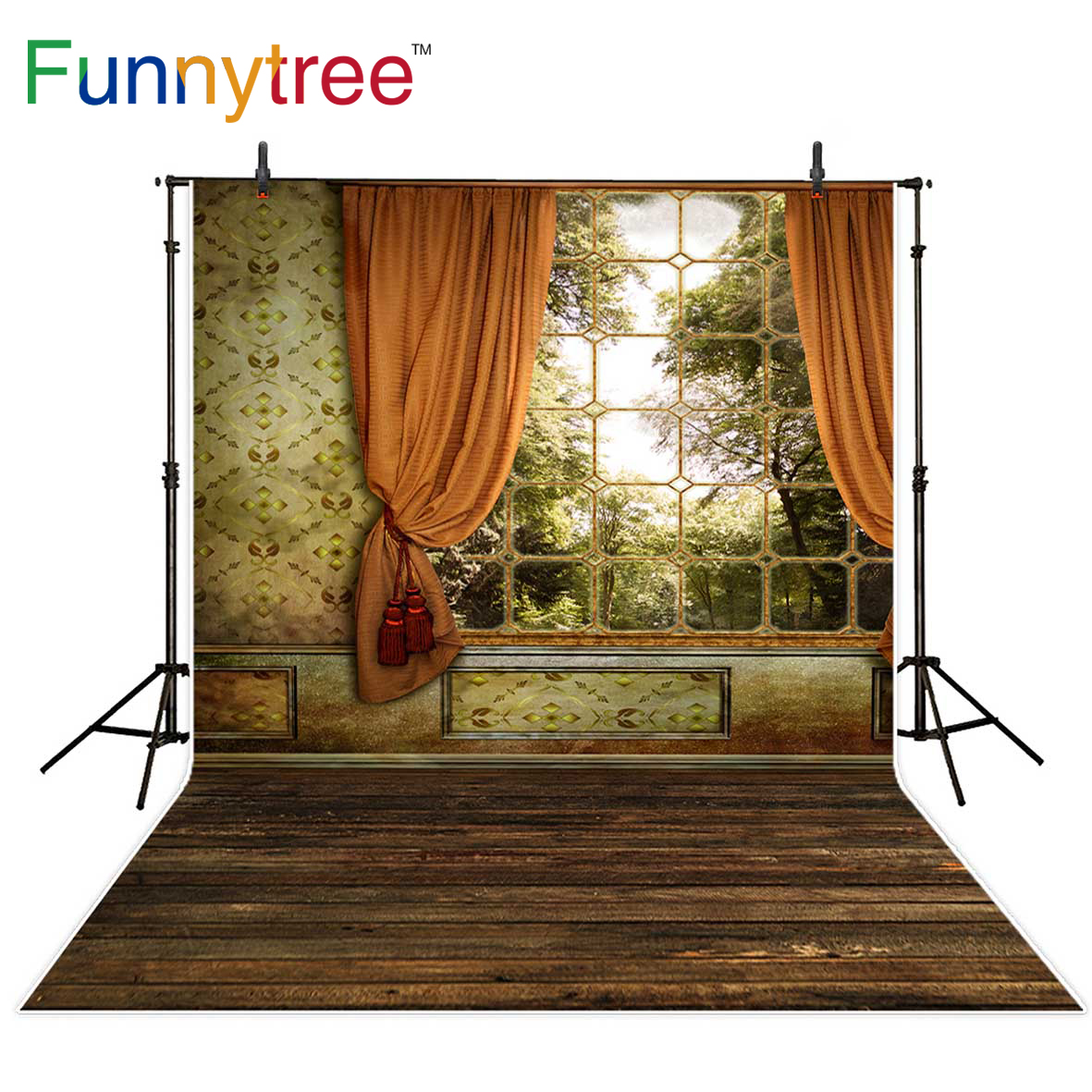 Funnytree photography backdrop vintage damask window tree wood floor home background photography photo prop professional