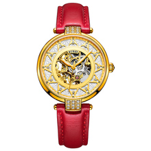 BUREI 15006 Switzerland watch font b women b font luxury brand skeleton Seagull automatic self wind