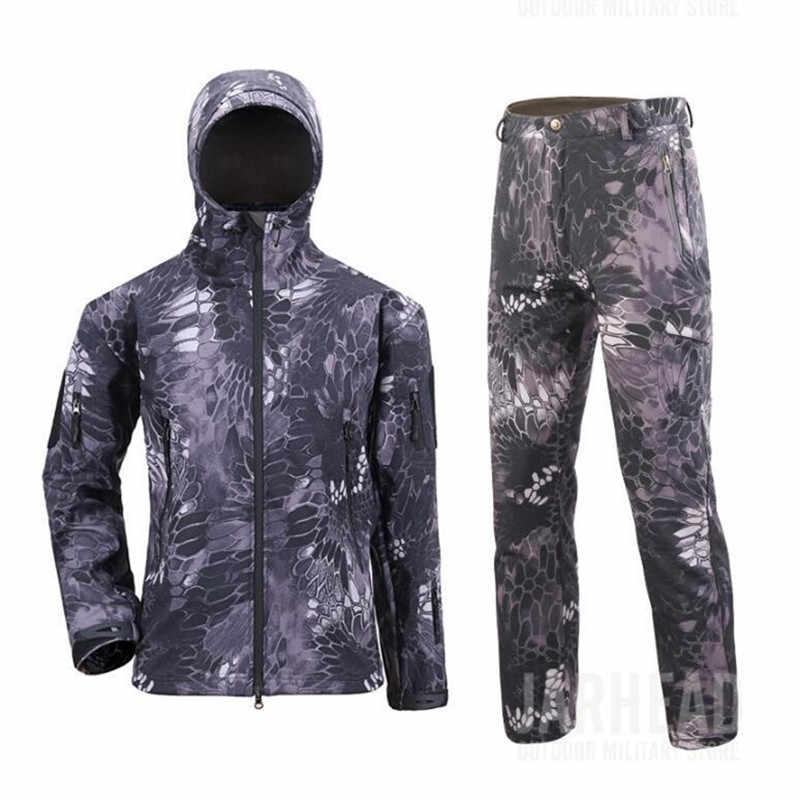 ホット冬男性屋外キャンプ狩猟ハイキング迷彩は、戦術防水シャークスキンソフトシェルフリースジャケットパンツスーツ