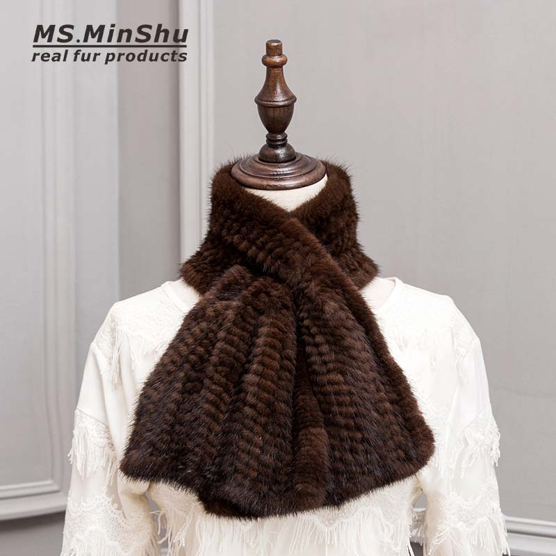 MS.MinShu Hand Knitted Mink Fur   Scarf   Fashion Real Fur   Scarf     Wraps   Woven Women Neck Warmer Luxury Mink Fur Shawl Winter   Scarf