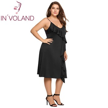 Women Dress Summer A-line Plus Size Spaghetti Strap Deep V-Neck Strappy Solid Ruffled Ladies Party Dresses Vestidos 1
