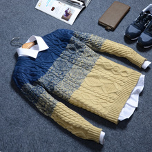 Gradient Brand Pullover Men 2015 New Casual O-Neck Sweter Hombre Thick Sweaters For Men Korean Style Mens Sweaters