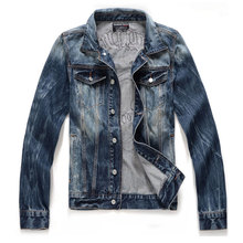 New Skull Jeans Jacket Coats 2017 Sweater Jeans Coat Turn-down Collar Casual Slim Fashion Clothes Men Jacket Outerwear M-XXL