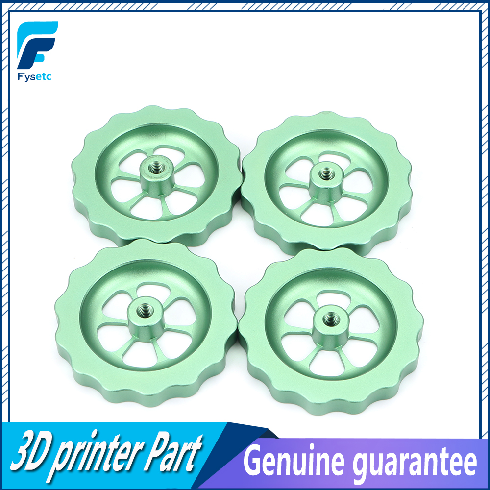4pc <font><b>3D</b></font> Printer <font><b>Parts</b></font> Big Hand Twist Leveling Nut All Metal Green For <font><b>TEVO</b></font> <font><b>Tornado</b></font> Ultimate Leveling Knob Leveler M5 thread image