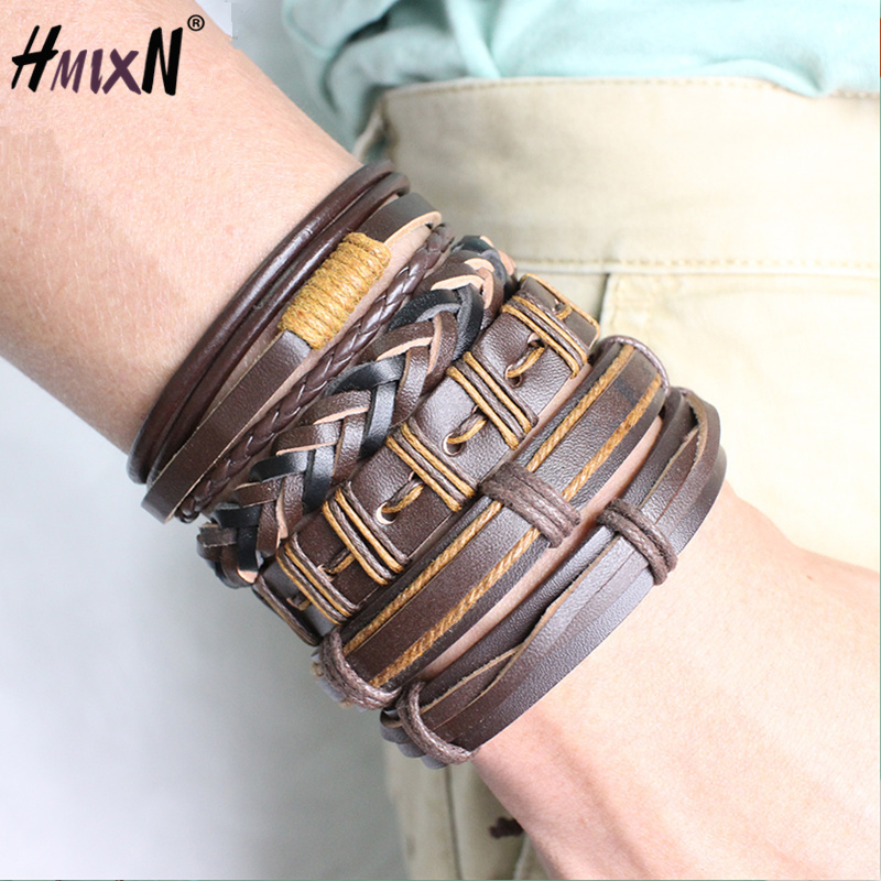 2018 NEW vintage Multiple Layers Punk metal Leather Bracelets Men Classic Rope Chain Charm Bracelet For Men Armband Jewelry Gift