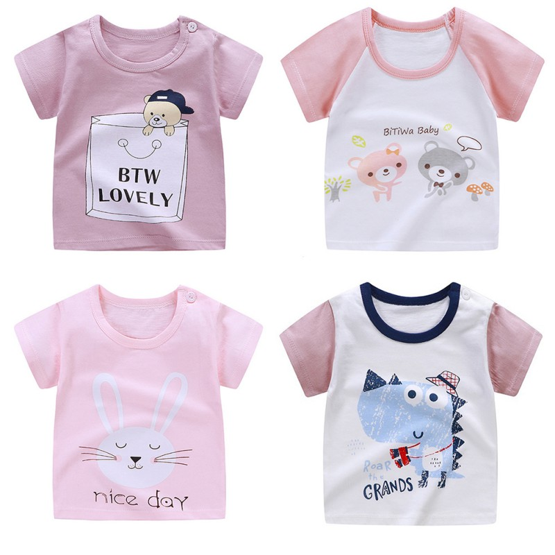 T-Shirt Blouse Tops Short-Sleeve Print Baby Baby-Boys-Girls Kids Cotton Cartoon Summer