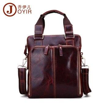Handsome Vintage Pure Natural Genuine leather men handbags High grade Oil waxing leather shoulder messenger bags