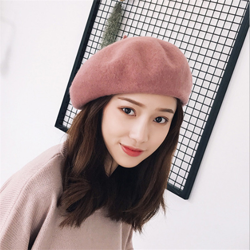 2019 New Hot Womens Winter 100% Wool Hat Berets Female Cap Handmade Strap Crossing Bow Newsboy Hats For Women Artist Cap