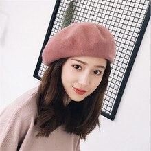 2019 New Hot Womens Winter 100% Wool Hat Berets Female Cap Handmade strap crossing bow newsboy Hats for Women Artist Cap