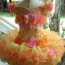 Милое детское бальное платье из органзы с рукавами-крылышками и цветком для девочек на свадьбу, на заказ