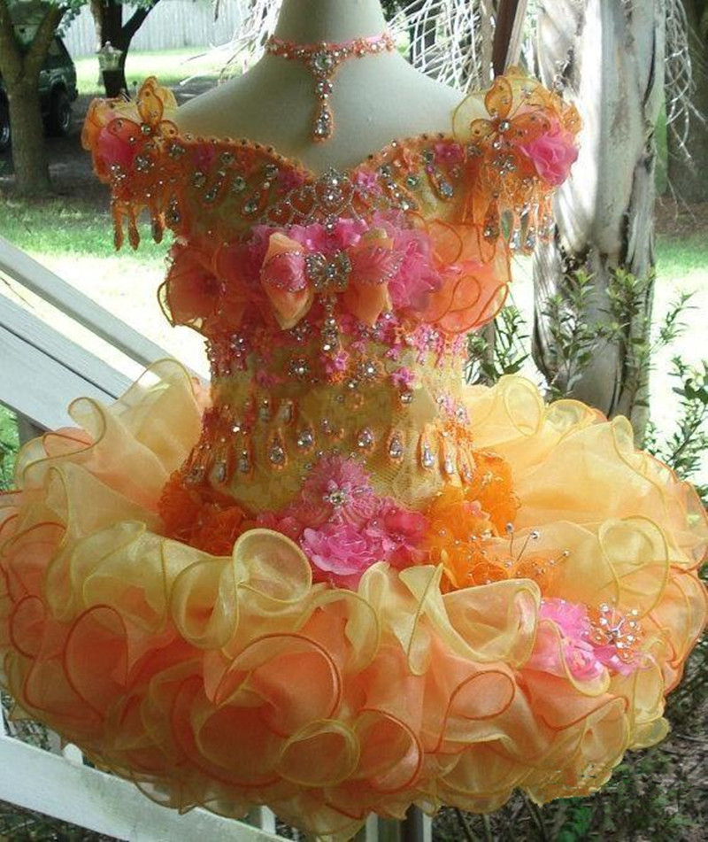 Cute Kids Cup Cake Style Cap Sleeves Organza Ball Gown Colorful Flower Girl Dresses for Wedding Party Custom Made