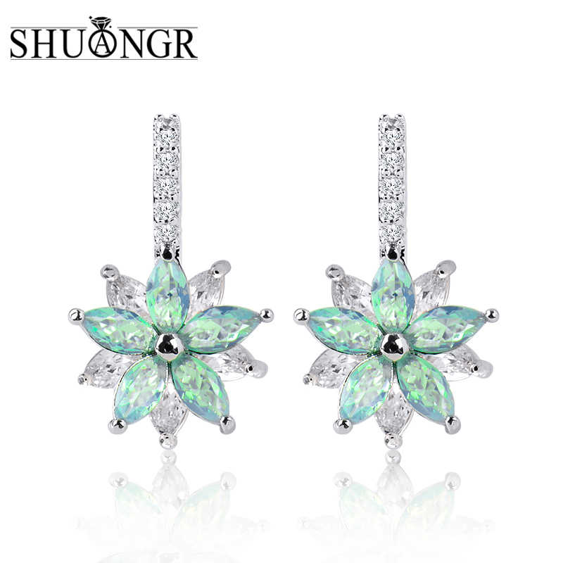 SHUANGR Cute Romantic Lovely Clear Stone Flower Shape Convenient Simple Stud Earrings Copper Cubic Zirconia For Women Party