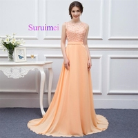 Long Bridesmaid Dresses 2017 Peach Lace Chiffon Maid Of Honor Gowns Elegant Scoop Neck Backless Wedding