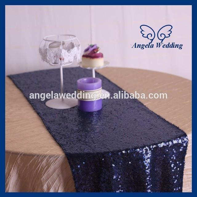 RU002G New Beaded Metallic Tiny Glitter Sequence Dark Navy Blue Sequin Table  Runner