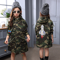 2017 New Winter Clothes For Girls Kids Army Green Hooded Warm Windbreaker Coat Long Sleeve Embroidery Patterns Children Jackets