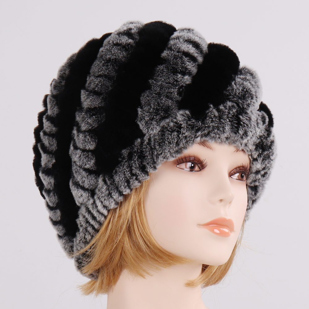 Winter Women Knitted Rex Rabbit Fur Hat Lady Rabbit Fur Bucket Cap Gift for Girl