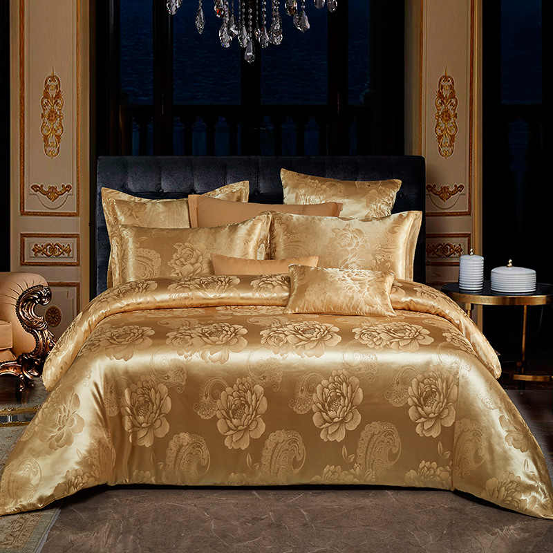 Luxury Style AB Side Jacquard Pure Cotton Bedding Sets Bed Duvet Cover Bed Sheet Pillowcase Golden Camel  Pink Grey