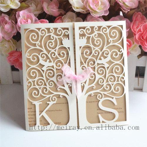 Laser Cut Tree Wedding Invitations Red Blue Ivory White Personalized