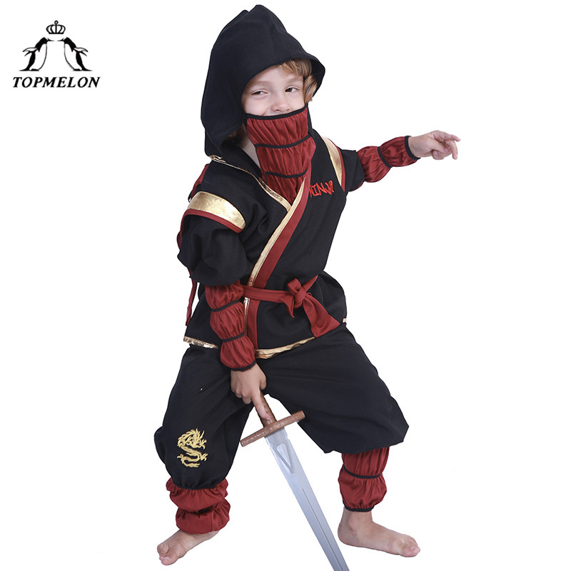 TOPMELON Little Boys Ninja Cosplay Japanese Style Soldier Costume Two Piece Tops Pants with Hat Halloween Kids