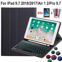 백라이트 키보드 케이스 애플 iPad 9.7 2018 6th 세대 2017 5th Air 1 2 Pro 9.7 A1822 A1823 A1893 A1954 연필 홀더