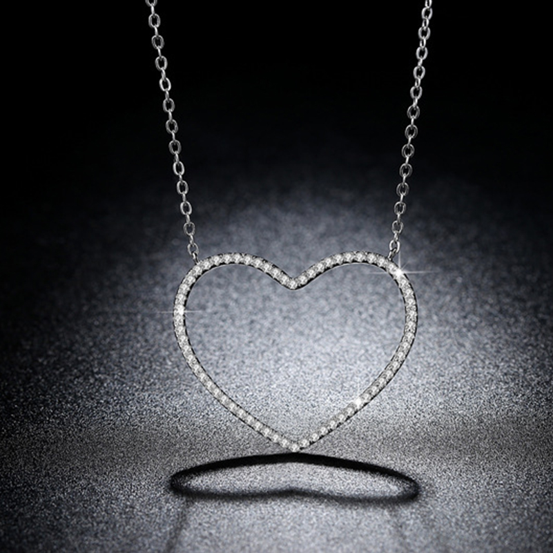 Big Heart Pendant Necklace Women Jewelry Accessories Silver Plated Chain Dainty Crystal Long Necklaces Best Friend Gift 2020