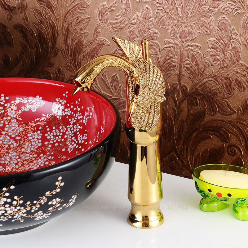 Gold Color Tall Swan Bathroom Faucet Lavatory Bath Vessel Basin Faucet Mixer Tap 224018T