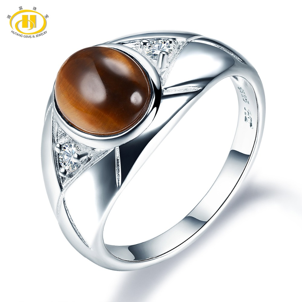 Hutang Men Jewelry Natural Gemstone Tiger Eye Solid 925 Sterling Silver Ring Fine Fashion Stone Jewelry For Father's Day Gift fine jewelry 925 silver natural prehnites gemstone natural grape stone trumpet ring father s day gift