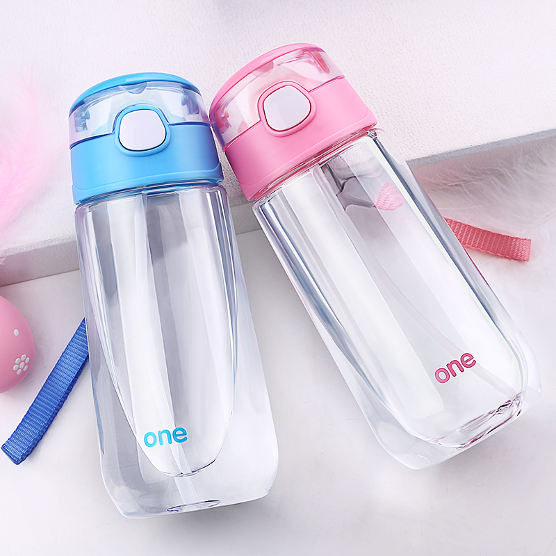 500ML Baby drinking Cups Water bottle with straw portable feeding bottle flip lid Plastic leakproot milk bottle for kids gift portable leakproof 500ml water bottle with lanyard