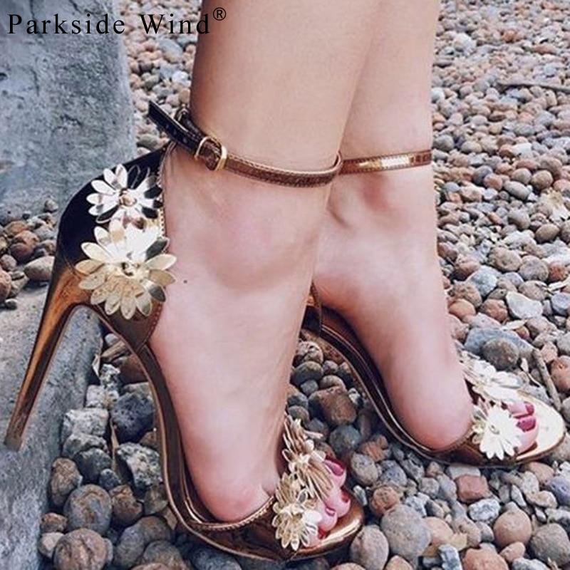 cad1d67ad35 Parkside Wind Gladiator High Heels Sandals Women Flower Patent Leather  Ladies Shoes Summer Buckle Strap Wedding