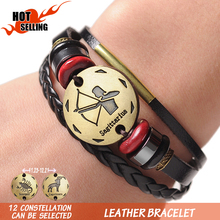 12 Zodiac Signs Cuff Leather Bracelet Men Femme Charms For Women Jewelry Couple Lovers Bracelets & Bangles Sagittarius Capricorn