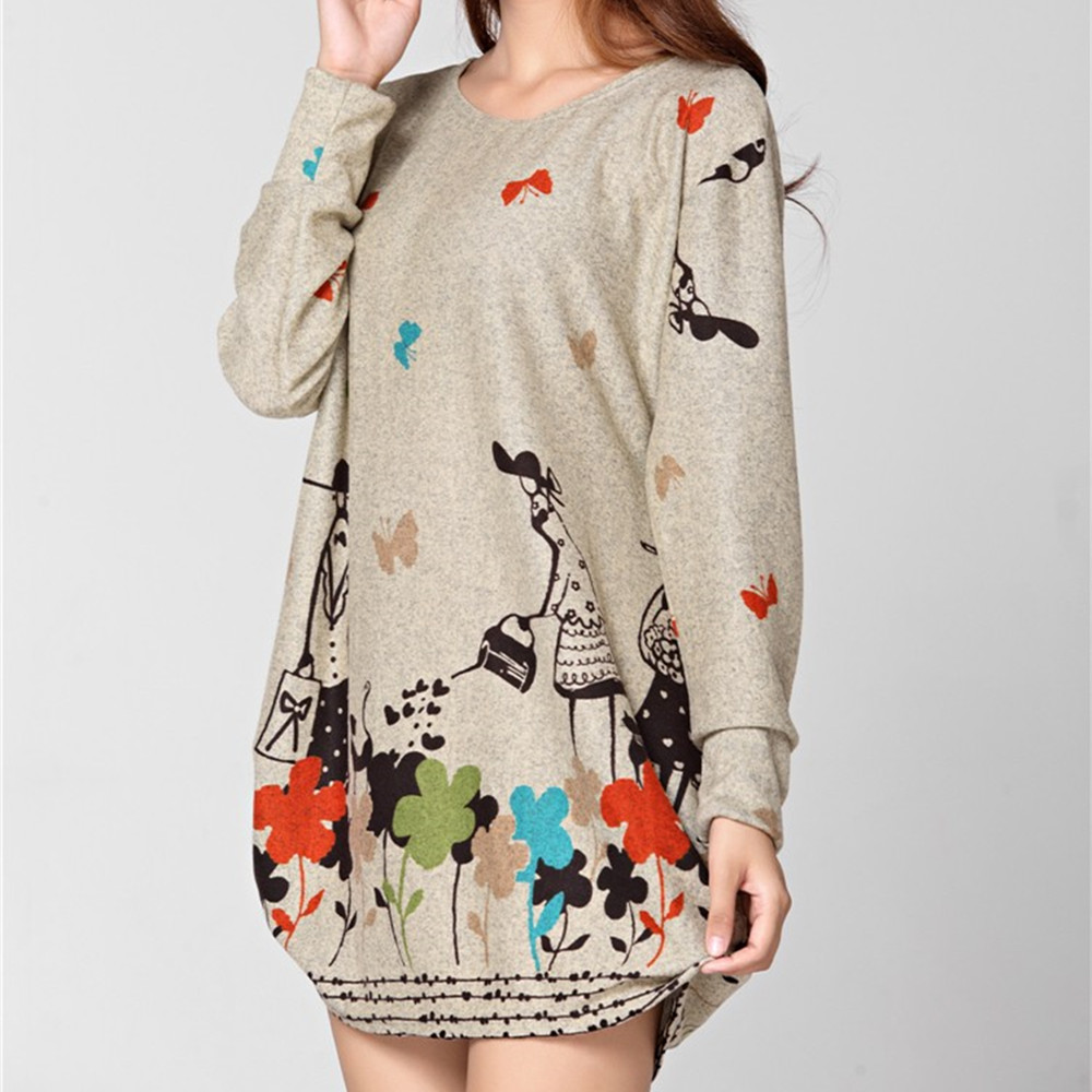 NEW 2019 winter autumn women casual print long sleeve t shirt tops & tees plus size loose fashion tunic big large XL-5XL