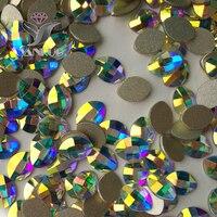 YANRUO 144pcs 4x6mm Crystal AB Rainbow Rhinestones Nail Art Crystal Pure Leaf Design 3D Nails Fancy Rhinestones