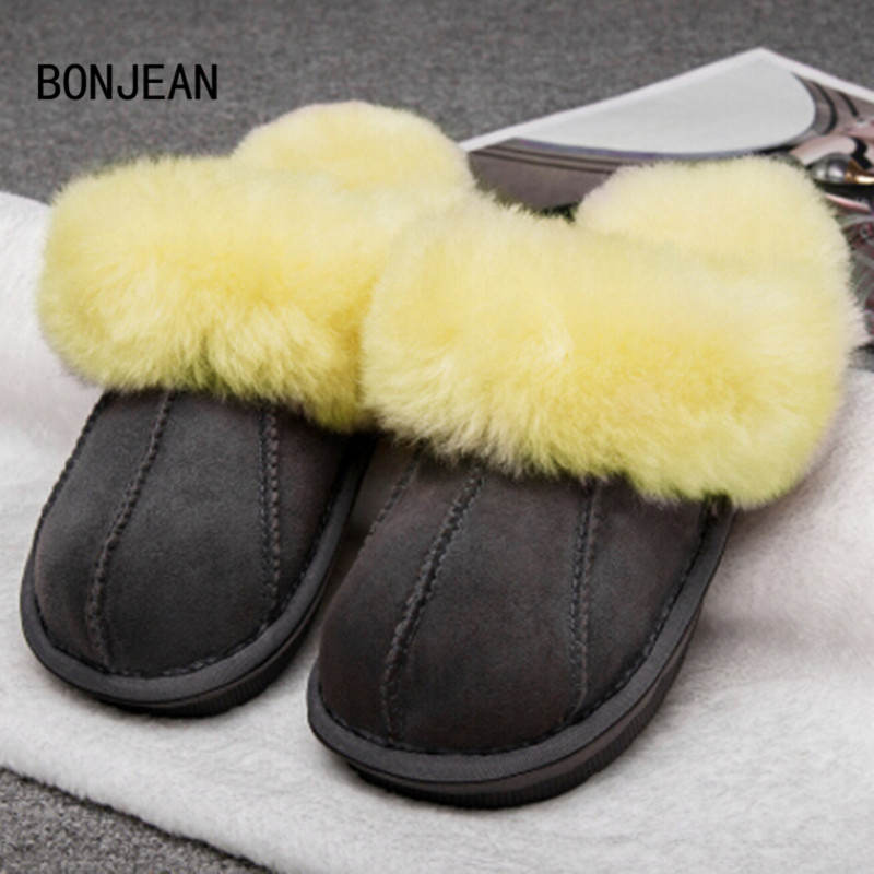 Winter Warm Indoor Shoes Slippers Thick Wool Shoes Women Furry Sheepskin Slippers Australia Genuine Leather Slippers 35-42