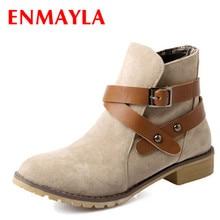 ENMAYER  new autumn buckle BIG SIZE women ankle boots Black Yellow Apricot color square heel flats suede shoes round
