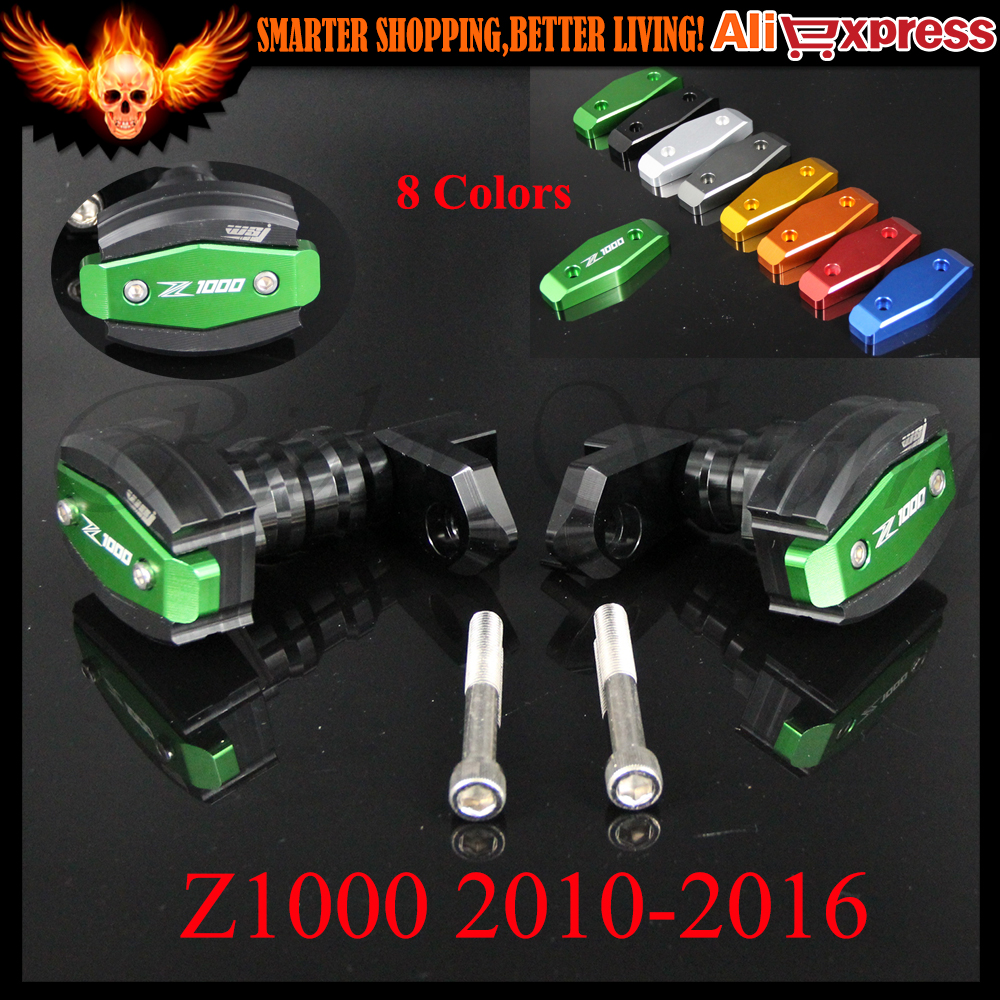 CNC Aluminum Black&Green Left and Right Motorcycle Frame Slider Anti Crash Protector For KAWASAKI Z1000 2010-2016 2013 2014 2015