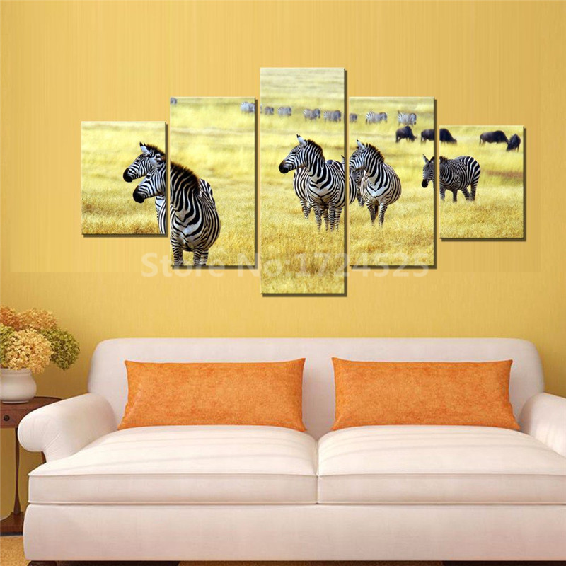 2017 Real Sale Modern Animal 5 Pcs Prints The Zebra On Prairie Modular Wall Paintings Art Home Decor For Living Room Unframed