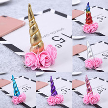 Cute 1Pc Girls Baby Kids Children Unicorn Hair Pins Party Costume Flower Lace Hair Pin Bows Alligator Clips Bebe Accessories(China)