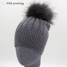 2016 Brand Womens Winter Hats Wool Rabitt With Raccoon Fur pompoms Knitted Warm Hats For Women Girls Fashion Gorros Skullies Cap