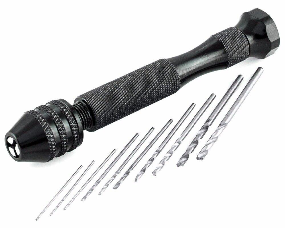 11 Pieces Hand Drill DIY Precision Pin Vise Model Mini Micro Hand Twist Drill Bits Set Free Shipping behelper mini micro hand drill bits