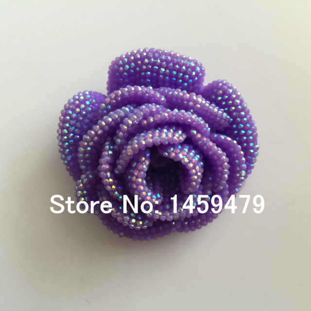 New 3D Flowers Large Resin Purple AB Color Stick-On Crystals Rhinestones  DIY Craft art 93a2ea9b837a